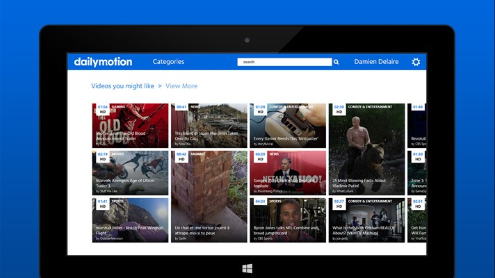 Universal Dailymotion Application For Windows 10 With Cortana Support