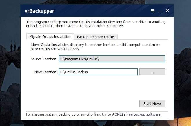 Oculus Mover Free Software